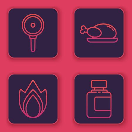 Set line Frying pan, Fire flame, Roasted turkey or chicken and Sauce bottle. Blue square button. Vector