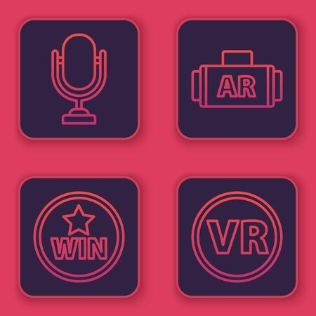 Set line Microphone, Medal, Ar, augmented reality and Virtual reality glasses. Blue square button. Vector