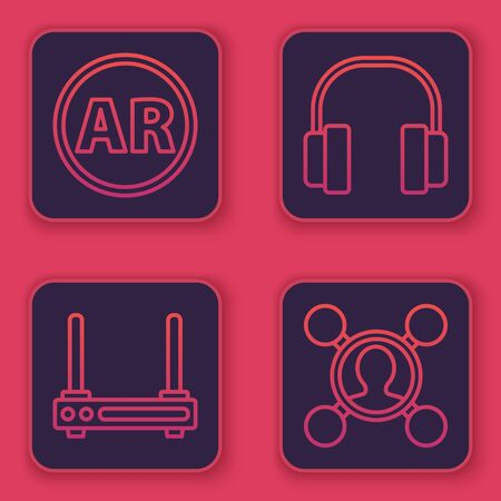 Set line Ar, augmented reality, Router and wifi signal, Headphones and Share. Blue square button. Vector