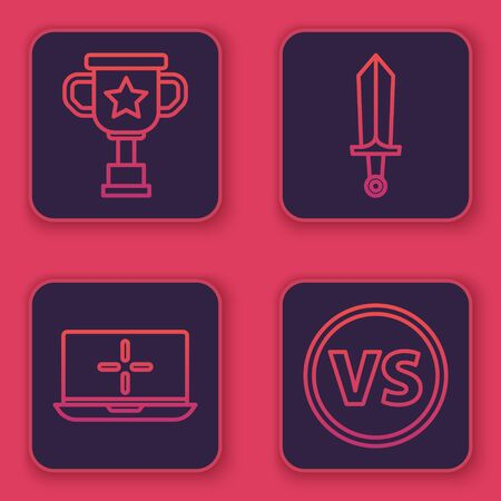 Set line Award cup, Laptop, Sword for game and VS Versus battle. Blue square button. Vector