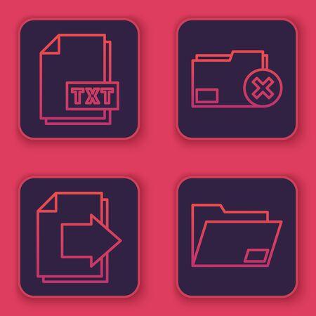 Set line TXT file document, Next page arrow, Delete folder and Document folder. Blue square button. Vector 向量圖像