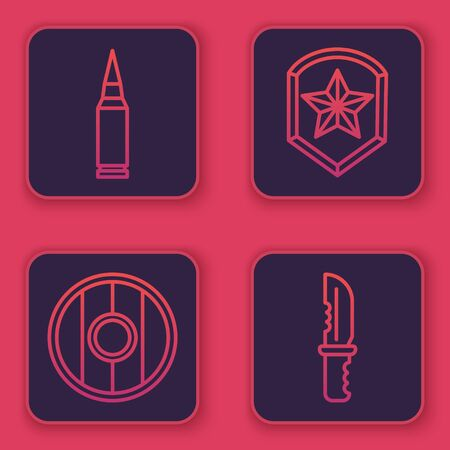 Set line Bullet, Round wooden shield, Police badge and Military knife. Blue square button. Vector