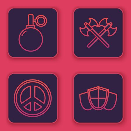 Set line Hand grenade, Peace, Crossed medieval axes and Shield. Blue square button. Vector