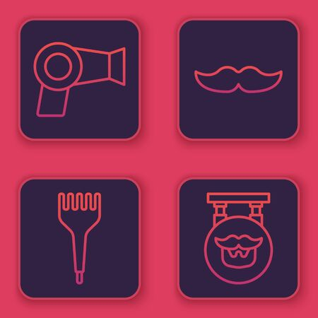 Set line Hair dryer, Hairbrush, Mustache and Barbershop. Blue square button. Vector