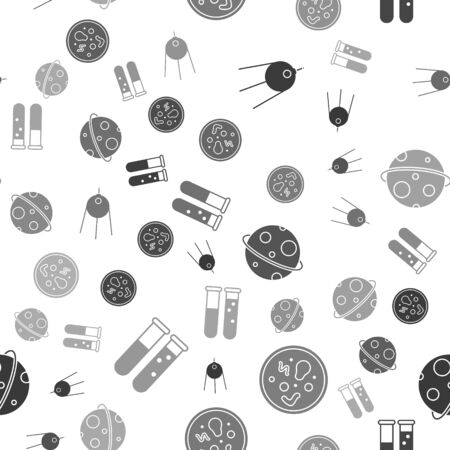 Set Satellite, Bacteria, Planet and Test tube and flask chemical laboratory on seamless pattern. Vector