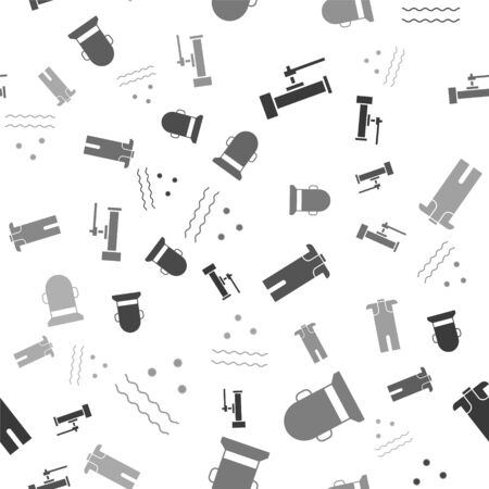 Set Industry metallic pipes and valve, Buoy, Wetsuit for scuba diving and Cold and waves on seamless pattern. Vector