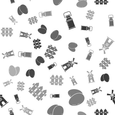 Set Can container for milk, Chicken egg, Windmill and Garden fence wooden on seamless pattern. Vector