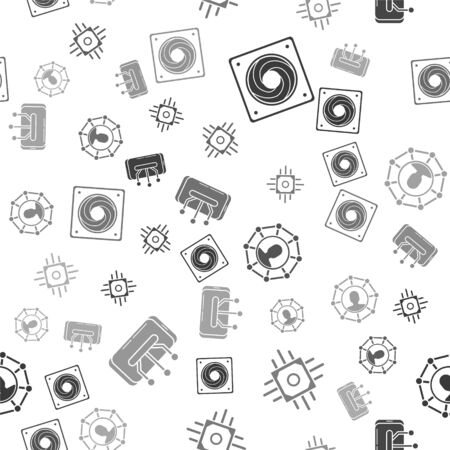 Set Computer cooler, Processor, Project team base and Smartphone, mobile phone on seamless pattern. Vector