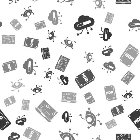 Set Internet of things, Virtual reality, Hard disk drive HDD and Laptop on seamless pattern. Vector