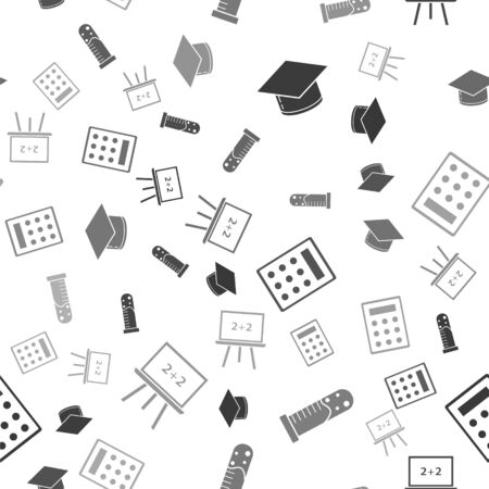 Set Graduation cap, Test tube and flask chemical laboratory, Calculator and Chalkboard on seamless pattern. Vector 向量圖像