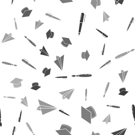 Set Pen, Graduation cap, Paint brush and Paper airplane on seamless pattern. Vector