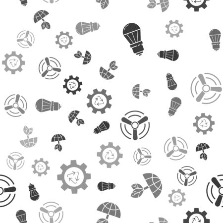 Set LED light bulb, Earth globe and leaf, Wind turbine and Recycle symbol and gear on seamless pattern. Vector