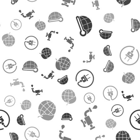 Set Meteorology thermometer measuring, Water tap, Electric plug and Earth globe and leaf on seamless pattern. Vector 일러스트