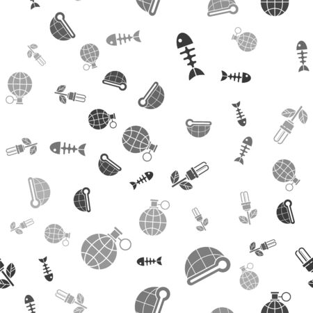 Set Fish skeleton, Meteorology thermometer measuring, Light bulb with leaf and Planet earth and a recycling on seamless pattern. Vector 일러스트