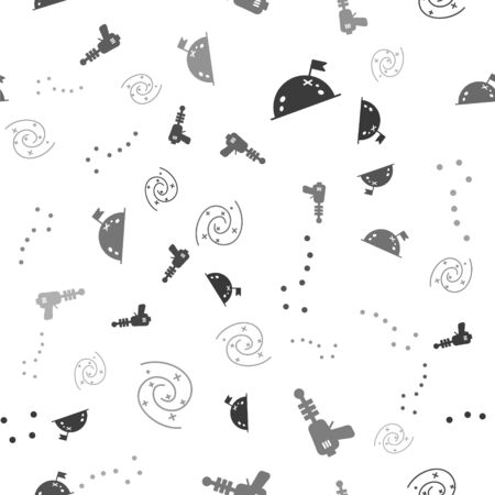 Set Planet with flag, Ray gun, Great Bear constellation and Black hole on seamless pattern. Vector 일러스트