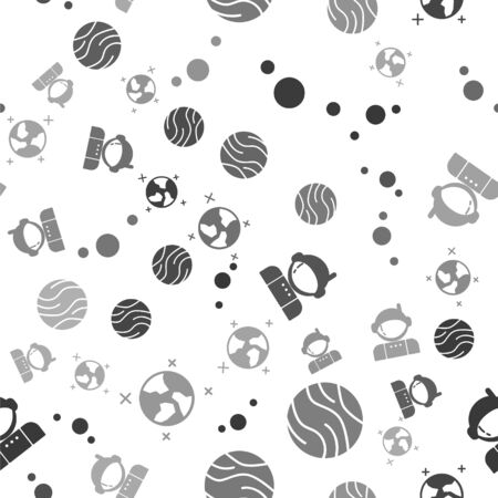 Set Solar system, Planet, Astronaut and Earth globe on seamless pattern. Vector