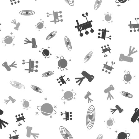 Set Mars transport, Planet, Telescope and Planet on seamless pattern. Vector