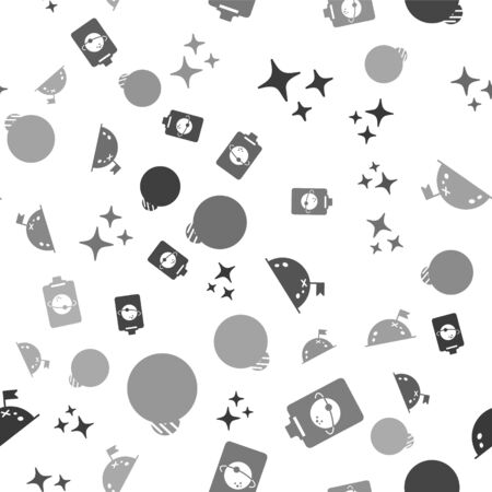 Set Falling star, Planet, Planet with flag and Planet on seamless pattern. Vector 일러스트