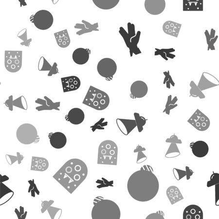 Set Vulcan salute, Planet, UFO flying spaceship and Alien on seamless pattern. Vector 일러스트