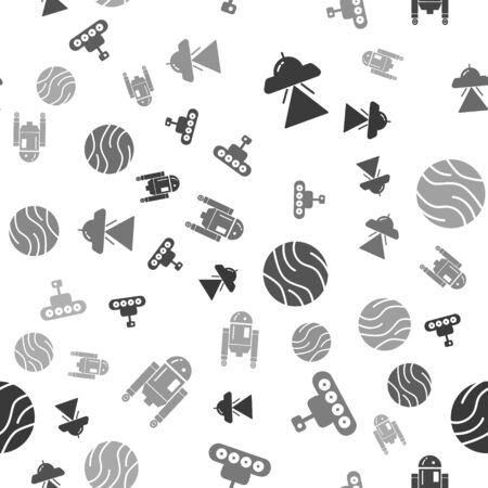 Set UFO flying spaceship, Mars transport, Planet and Robot on seamless pattern. Vector