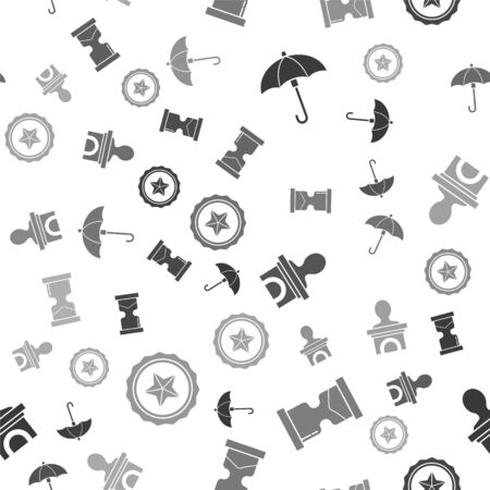 Set Umbrella, Old hourglass, Stage stand or debate podium rostrum and Police badge on seamless pattern. Vector Ilustração