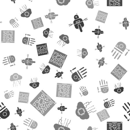 Set Robot, Internet of things, Mechanical robot hand and Global technology or social network on seamless pattern. Vector 일러스트