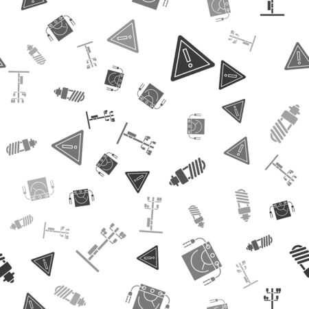 Set Exclamation mark in triangle, Ampere meter, multimeter, voltmeter, LED light bulb and High voltage power pole line on seamless pattern. Vector
