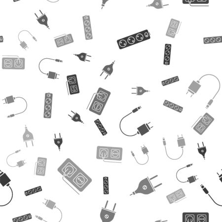 Set Electric extension cord, Electric plug, Charger and Electrical outlet on seamless pattern. Vector Stock Illustratie