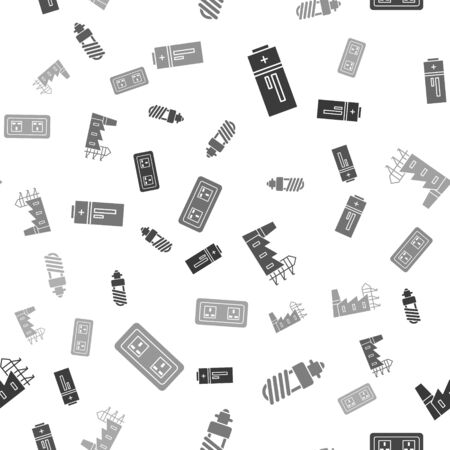 Set Battery, LED light bulb, Power station plant and factory and Electrical outlet on seamless pattern. Vector Ilustração