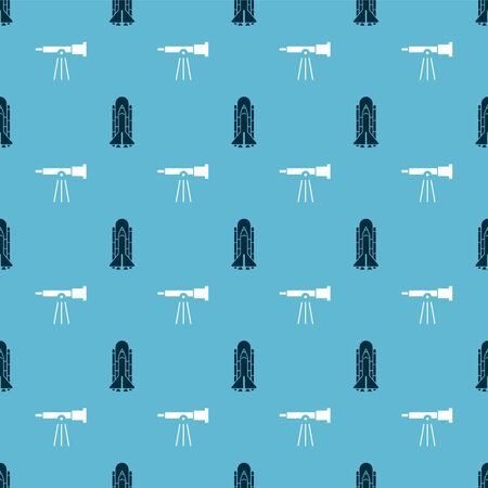 Set Space shuttle and rockets and Telescope on seamless pattern. Vector