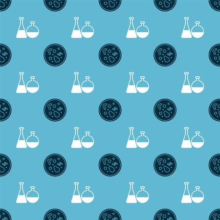 Set Bacteria and Test tube and flask chemical laboratory on seamless pattern. Vector