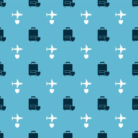 Set Traveling baggage insurance and Plane with shield on seamless pattern. Vector