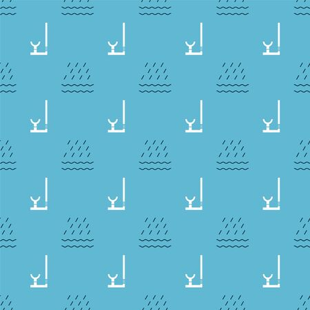 Set Rain and waves and Snorkel on seamless pattern. Vector