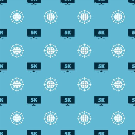 Set Monitor display with 5k video and Global technology or social network on seamless pattern. Vector