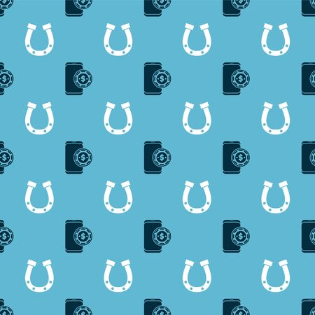 Set Online poker table game and Horseshoe on seamless pattern. Vector