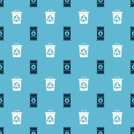 Set Oil barrel line and Recycle bin with recycle symbol on seamless pattern. Vector