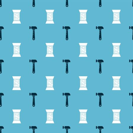 Set Hammer and Sewing thread on spool on seamless pattern. Vector