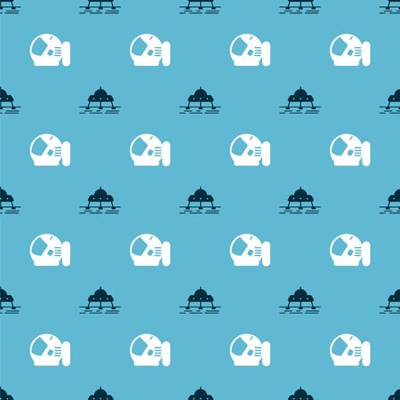Set Mars rover and Astronaut helmet on seamless pattern. Vector