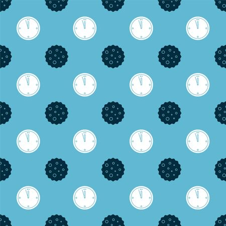 Set Cookie or biscuit with chocolate and Clock on seamless pattern. Vector