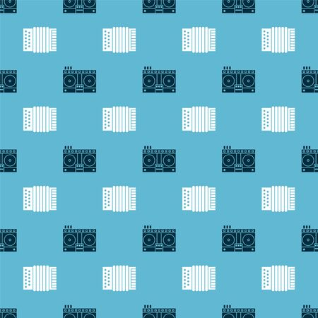Set DJ remote for playing and mixing music and Musical instrument accordion on seamless pattern. Vector