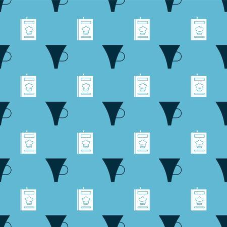 Set Funnel or filter and Cookbook on seamless pattern. Vector Ilustração