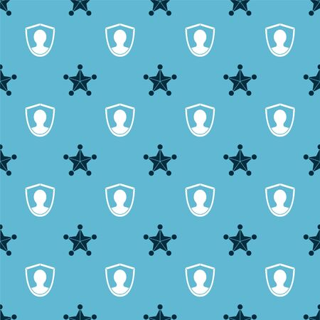 Set Hexagram sheriff and User protection on seamless pattern. Vector Banque d'images - 144395671