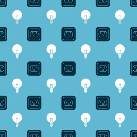 Set Electrical outlet in the USA and Light bulb on seamless pattern. Vector