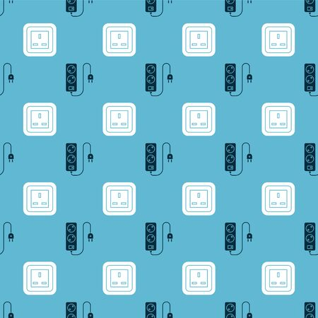 Set Electric extension cord and Electrical outlet on seamless pattern. Vector