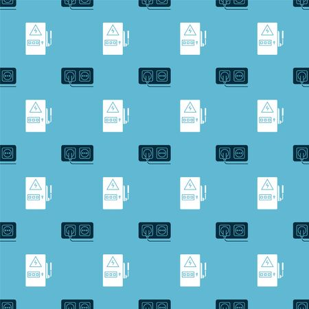 Set Electrical outlet and Electrical panel on seamless pattern. Vector