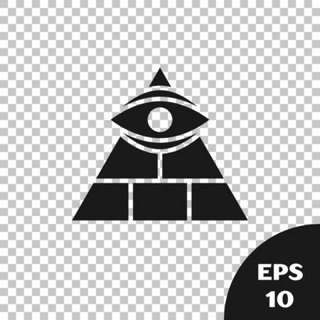 Black Masons symbol All-seeing eye of God icon isolated on transparent background. The eye of Providence in the triangle. Vector Illustration
