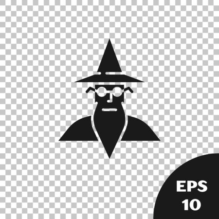 Black Wizard warlock icon isolated on transparent background. Vector Illustration
