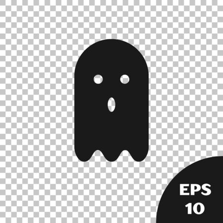 Black Ghost icon isolated on transparent background. Vector Illustration