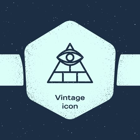 Grunge line Masons symbol All-seeing eye of God icon isolated on blue background. The eye of Providence in the triangle. Monochrome vintage drawing. Vector Illustration