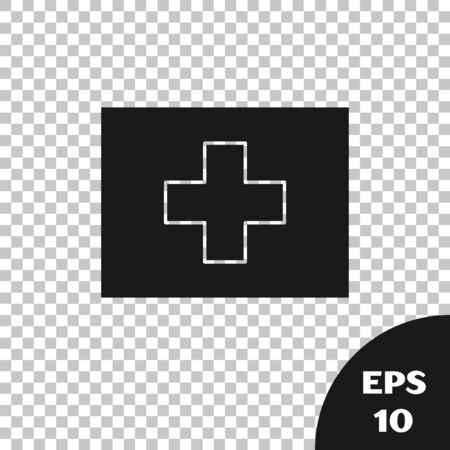 Black First aid kit icon isolated on transparent background. Medical box with cross. Medical equipment for emergency. Healthcare concept. Vector Illustration
